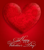 A lace decorative heart is on a red background — Stock Photo