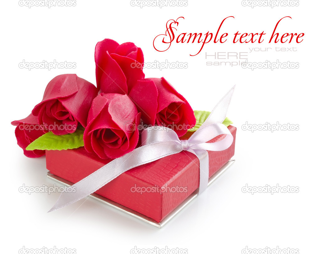Little red gift with roses on white background — Stock Photo #8474179