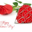 Decorative heart with red rose on a white background — Stock Photo