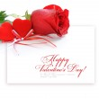 Two velvet hearts with a red rose on a background the sheet of p — Stock Photo