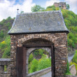 An entrance gate is to the ancient castle. Burg Eltz in Germany - Stock Photo