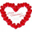 Foto de Stock  : Heart is from decorative hearts on white background