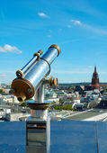 Telescope view overlooking Frankfurt am Main, Germany — Stock Photo