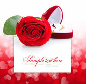 Red rose and red velvet box with golden ring on a festive backgr — Stock Photo