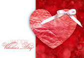 Decorative heart is on a red festive background with space for t — Stock Photo