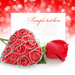 Decorative heart with red rose on a festive background with spac — Stock Photo #8939679