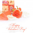 Little gift bag with rose on festive background with space for t — Stock Photo