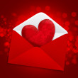 Decorative heart in a red postal envelope on a festive backgroun — Stock Photo #8939999