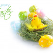 Stock Photo: Easter eggs and nest with a hen and chickens on white background