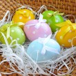 Royalty-Free Stock Photo: The coloured easter eggs are in a trug