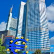 Stock Photo: Euro Sign Outside Headquarters of EuropeCentral B