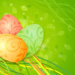 Easter eggs on a green spring background — Stock Photo #9669835
