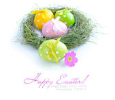Colorful easter eggs are in a nest on a white background — Stockfoto