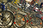 Bicycle parking in big city — Стоковое фото