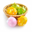 Stock Photo: Colorful easter eggs on a white background