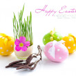 Easter eggs and green sprouts on a white background — Stock Photo #9834322