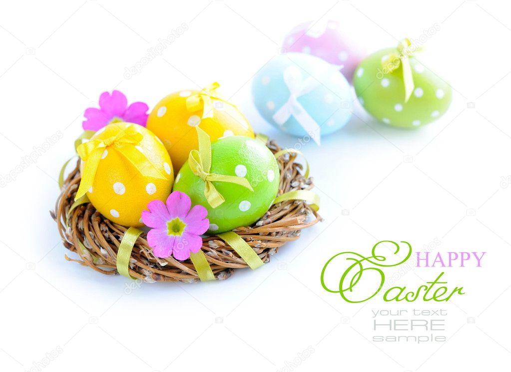 Colorful easter eggs on a white background — Stock Photo #9832844