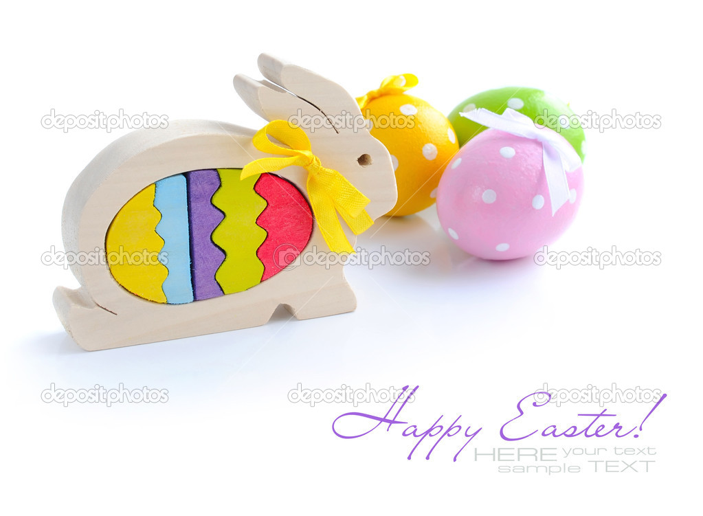 Easter rabbit and easter eggs are on a white background — Stock Photo #9832996