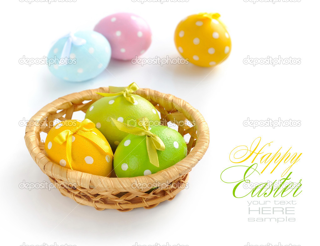 Colorful easter eggs on a white background — Stock Photo #9833971