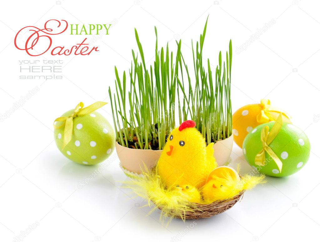 Easter eggs and green sprouts on a white background — Stock Photo #9834057