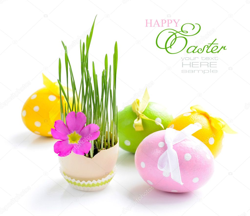 Easter eggs and green sprouts on a white background — Stock Photo #9834304