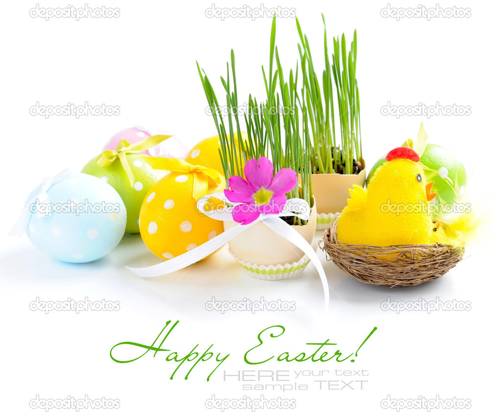 Easter eggs and green sprouts on a white background  Foto de Stock   #9834363