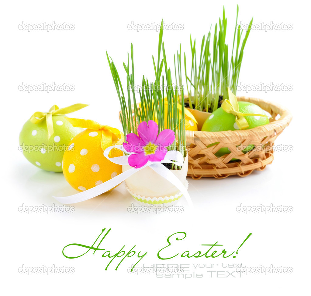 Composition from easter eggs and green sprouts in an egg on a white background — Stock Photo #9834379