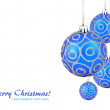 Christmas balls hanging with ribbons on white background - Stock Photo