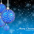 Christmas balls hanging with ribbons on background - Stock Photo