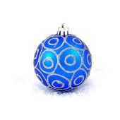 Blue christmas ball isolated on white — Stock Photo