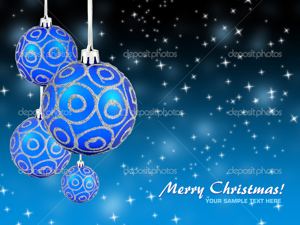 Christmas balls hanging with ribbons on background  Stock Photo #8129857