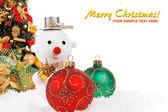 Vánoční koule s sněhulák — Stock fotografie