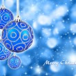 Christmas balls hanging with ribbons on background — Stock Photo #8182703