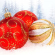 Christmas balls isolated on winter background — Zdjęcie stockowe