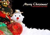 Christmas holiday background with a snow man — Stock Photo