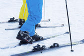 Ski boots and skis — Stock Photo