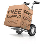 Free shipping carboard box — Stock Photo