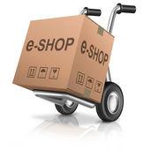 Icona di carrello negozio web — Foto Stock