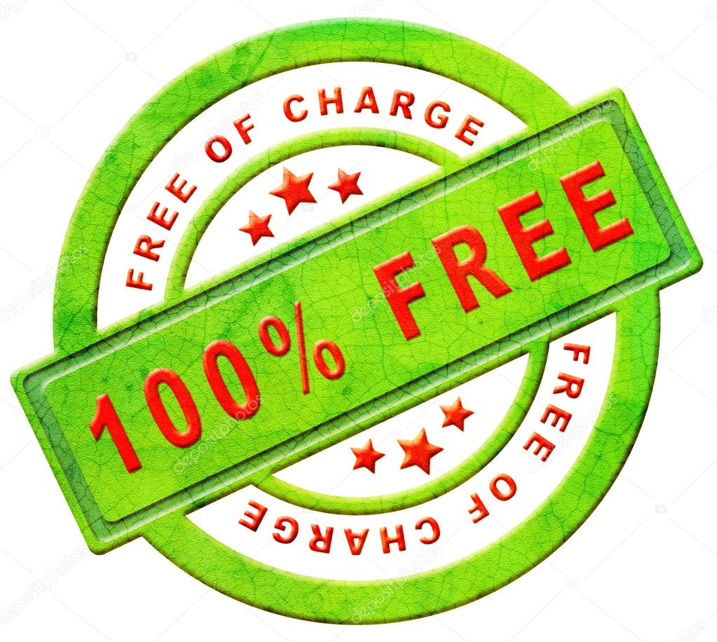 Free of charge gratis label gift present 100% icon promotion free sample promotional free trial red text on green button isolated on white — Stock Photo #8824953
