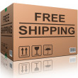 Free shipping cardboard box — Stock Photo #9221001