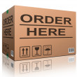 Order here cardboard box — Stock Photo