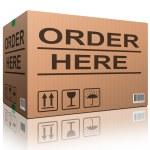 Order here cardboard box — Stock Photo
