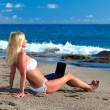 Sexy beautiful woman in bikini using laptop at the beach — Stock Photo