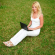 Young beautiful woman working with laptop in the green grass — Stock Photo