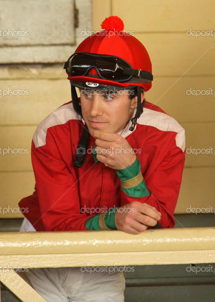 ARCADIA, CA - MARCH 15: Jockey Joseph Talamo waits for his mount in the paddock at Santa Anita Park on March 15, 2012 in Arcadia, CA. — Stock Photo #9650112