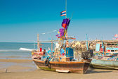 The fishing boats are on the beach — Stock Photo
