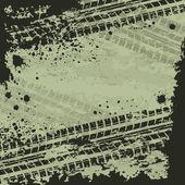 Däck spår grön bakgrund — Stockvektor