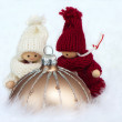 Brown christmas bauble with puppets — ストック写真