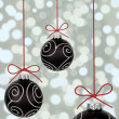 Black christmas baubles — Stock Photo