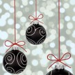 Black christmas baubles — Stockfoto